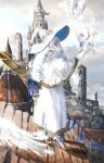 1girl blue_eyes blue_headwear capelet castle city cloak clouds commentary_request fantasy full_body hair_over_one_eye hat highres holding holding_staff long_hair nanaponi original parted_lips solo staff standing two-sided_fabric two-sided_headwear white_bird white_capelet white_cloak white_footwear white_hair white_headwear witch_hat