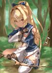 1girl 6mint absurdres arrow_(projectile) blonde_hair blurry blurry_background bow_(weapon) brown_gloves clothing_cutout commentary dark-skinned_female dark_skin elf forest gloves highres holding holding_arrow holding_bow_(weapon) holding_weapon hololive long_hair long_sleeves looking_at_viewer multicolored_hair nature outdoors partially_fingerless_gloves pointy_ears ponytail shiranui_flare shoulder_cutout single_thighhigh solo squatting streaked_hair thigh-highs tree virtual_youtuber weapon white_hair white_legwear