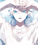 1girl blue_eyes collarbone commentary_request dog_tags ear_piercing earrings hands_up highres jewelry long_hair looking_at_viewer lower_teeth original parted_lips piercing shirt short_sleeves solo stud_earrings t-shirt teeth twitter_username upper_body white_hair white_shirt yagi_(shiro_yagi)