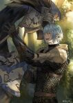1boy arm_up armor bangs black_gloves blue_eyes blue_hair chainmail chest_belt chocobo cowboy_shot earclip elezen elf final_fantasy final_fantasy_xiv forest from_side gloves haurchefant_greystone jya male_focus nature one_eye_closed open_mouth outdoors pauldrons pointy_ears pouch reins shield short_hair shoulder_armor smile solo standing tree twitter_username vambraces