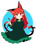 1girl alternate_hairstyle animal_ear_fluff animal_ears arm_behind_back bangs cat_ears cat_tail closed_mouth cropped_legs dress eyebrows_visible_through_hair fang frilled_dress frills green_dress highres ini_(inunabe00) juliet_sleeves kaenbyou_rin long_hair long_sleeves looking_at_viewer multiple_tails nekomata puffy_sleeves red_eyes redhead skin_fang smile tail touhou two_tails