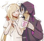 1boy 1girl :d alternate_costume bangs barry_nah closed_eyes coffee_cup collarbone comb cup danganronpa_(series) danganronpa_2:_goodbye_despair disposable_cup dress english_text grey_background grey_dress hand_up happy hetero highres holding holding_comb holding_cup kiss lower_teeth pajamas scar scar_across_eye shirt short_sleeves simple_background smile sonia_nevermind speech_bubble striped striped_headwear striped_shirt tanaka_gandamu teeth translation_request twitter_username