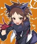 ! 1boy :d animal_ears bangs blush brown_eyes brown_hair buttons commentary_request gloves hairband hand_up male_focus nate_(pokemon) open_clothes open_mouth open_vest orange_background outline pokemon pokemon_(game) pokemon_bw2 red_gloves scarf shirt smile solo spoken_exclamation_mark tail teeth tongue tpi_ri twitter_username vest white_vest