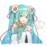 1girl absurdres artist_logo artist_name bangs blue_eyes blue_hair blue_ribbon blush commentary dress eyebrows_visible_through_hair flower hair_flower hair_ornament hatsune_miku highres long_hair looking_at_viewer open_mouth ribbon simple_background smile solo twintails upper_body vocaloid wandu_muk white_background white_dress white_flower