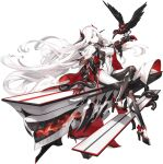 1girl animal_on_arm armor bangs bird bird_on_arm black_surge_night bodysuit breasts closed_mouth colored_skin criin crossed_legs flight_deck full_body headgear high_heels hood hood_down large_breasts long_hair looking_at_viewer midway_(black_surge_night) official_art pale_skin red_eyes rigging sitting transparent_background tube very_long_hair white_hair white_skin
