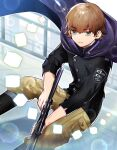 1boy black_eyes black_footwear black_jacket boots brown_hair brown_pants closed_mouth cube ema_yuzuru feet_out_of_frame gun holding holding_gun holding_weapon jacket long_sleeves looking_at_viewer male_focus pants pbn_(user_cdey3224) rifle short_hair sparkle standing weapon world_trigger