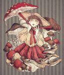 1girl absurdres bob_cut brown_eyes brown_hair dress flat_color hat highres mushroom original oversized_object short_hair surreal tears
