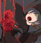 blue_eyes bright_pupils celebi closed_mouth commentary_request dated flower grey_background half-closed_eyes leels looking_at_viewer no_humans pokemon pokemon_(creature) red_flower white_pupils zekrom
