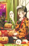 1girl abo_(kawatasyunnnosukesabu) animal barefoot bat black_eyes black_hair cat chisel fork ghost halloween hand_on_own_chin hanten_(clothes) highres indoors jack-o'-lantern kotatsu long_hair maid maid_headdress original pumpkin sitting table wariza