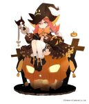 1girl ash_arms bangs black_dress black_footwear boots bow commentary dress frilled_dress frills green_eyes halloween halloween_costume hat highres holding holding_staff jack-o'-lantern long_hair long_sleeves looking_at_viewer maus_(ash_arms) medium_dress official_art orange_bow orange_neckwear redhead simple_background sitting solo staff undeedking watermark white_background witch_hat