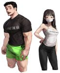 1boy 1girl bangs black_hair black_pants black_shirt bulge camisole commentary_request cropped_legs english_commentary english_text facial_hair goatee green_shorts grey_eyes highres korean_commentary large_pectorals long_hair long_sideburns looking_at_viewer mask mixed-language_commentary mouth_mask muscular muscular_male open_mouth original pants pectorals print_shirt rinotuna shirt short_hair short_sleeves shorts sideburns simple_background surgical_mask taut_clothes taut_shirt text_print thick_thighs thighs veins white_background white_camisole white_mask