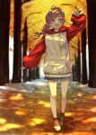 1girl absurdres ahoge arm_up autumn autumn_leaves bangs braid brown_hair commentary commission full_body grey_skirt hair_ribbon highres hood hood_down hoodie long_hair long_sleeves open_mouth original outdoors oversized_clothes rasetsu001 red_hoodie ribbon shoes single_braid skeb_commission skirt sneakers solo tree two-tone_hoodie walking white_hoodie yellow_eyes