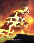 1boy cave_interior character_name claws coat commentary copyright_name english_commentary glowing glowing_eyes groudon hand_up highres holding kelvin-trainerk legs_apart long_sleeves maxie_(pokemon) molten_rock open_mouth orange_eyes pokemon pokemon_(game) pokemon_oras primal_groudon sharp_teeth spikes standing teeth twitter_username
