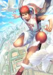 1boy :d ball basketball basketball_uniform bird blue_sky city clouds commentary_request eyebrows feathers floating jacket jersey kagami_taiga kuroko_no_basuke male_focus midair red_eyes redhead shoes short_hair shorts sky smile sneakers solo sportswear suiact