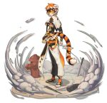 1girl absurdres animal_ears arknights capelet dual_wielding fire_hydrant furry furry_female gabrieltsui highres holding manhole_cover multicolored_fur orange-tinted_eyewear orange_fur round_eyewear solo tail tiger_ears tiger_girl tiger_tail tinted_eyewear waai_fu_(arknights) yellow-tinted_eyewear yellow_eyes