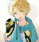 1boy bangs blonde_hair ear_piercing green_eyes highres holding holding_shoes jewelry long_sleeves looking_at_viewer male_focus necklace original piercing pillow_(nutsfool) shoes simple_background sneakers solo spiky_hair tongue tongue_out upper_body