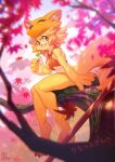 1girl bangs bell blonde_hair bottomless breasts closed_mouth commentary_request commission dango eating eyebrows_visible_through_hair falling_leaves food fox_girl fox_hat full_body furrification furry furry_female halter_top halterneck highres inuki_(aruurara) leaf looking_at_viewer maple_leaf moonlight_flower moss ragnarok_online red_eyes short_hair signature sitting sitting_on_branch skeb_commission small_breasts solo staff tree wagashi