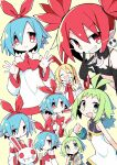 4girls asameshi ascot bangs bare_shoulders black_choker black_gloves blonde_hair blue_hair blush_stickers bracelet choker closed_eyes disgaea dress earrings elbow_gloves etna fang flonne gloves green_eyes green_hair grin hair_ribbon hand_up highres holding jewelry long_hair long_sleeves looking_at_viewer marona_(phantom_brave) message_in_a_bottle multiple_girls multiple_views neck_ribbon open_mouth phantom_brave pleinair pointy_ears red_eyes red_neckwear red_ribbon redhead ribbon short_hair short_twintails simple_background skin_fang skull_earrings sleeveless sleeveless_dress smile twintails upper_body usagi-san white_dress wide_sleeves yellow_background