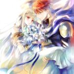 1boy 1girl armor bangs blue_eyes blunt_bangs bouquet carrying circlet closed_mouth dress eliwood_(fire_emblem) eye_contact eyebrows_visible_through_hair fire_emblem fire_emblem:_the_blazing_blade flower holding holding_bouquet kuzumosu layered_dress long_dress long_hair looking_at_another ninian_(fire_emblem) princess_carry red_eyes redhead sash shiny shiny_hair short_hair shoulder_armor silver_hair sleeveless sleeveless_dress smile very_long_hair white_dress white_flower