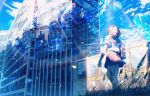 1girl absurdres building day fish highres jellyfish medium_hair original scenery school_uniform signature skirt sky solo standing teardrops_(user_vgvd7733) water whale window