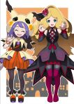2girls acerola_(pokemon) bangs bare_shoulders bead_bracelet beads black_gloves blonde_hair boots bracelet caitlin_(pokemon) capelet closed_eyes detached_sleeves eyebrows_visible_through_hair eyelashes facing_viewer flipped_hair gloves hair_ornament hands_up highres hood hooded_capelet jewelry kohatsuka legwear_under_shorts long_hair looking_at_viewer multiple_girls official_alternate_costume open_mouth orange_bracelet orange_shorts outline pantyhose parted_bangs pokemon pokemon_(game) pokemon_masters_ex purple_hair shoes shorts single_glove standing striped striped_shorts themed_object thigh-highs thigh_boots tongue vertical-striped_shorts vertical_stripes waist_cape
