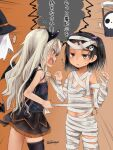 2girls akino_shuu arm_wrap bandaged_arm bandaged_hand bandaged_head bandaged_leg bandages black_hair black_legwear blush commentary_request dress grecale_(kancolle) hair_ornament halloween halloween_costume happy_halloween hat jack-o'-lantern kantai_collection long_hair multiple_girls mummy mummy_costume naked_bandage official_alternate_costume one-piece_tan open_mouth pumpkin sarashi scirocco_(kancolle) short_hair skirt skull sleeveless tan tanlines thigh-highs translation_request twitter_username witch_hat