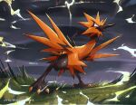 bird commentary dark_sky electricity english_commentary galarian_zapdos grass highres kelvin-trainerk legs_apart no_humans open_mouth pokemon pokemon_(creature) solo standing tongue twitter_username