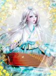 aqua_bow aqua_eyes bangs bow bug butterfly flower hanbok highres instrument korean_clothes leaf lens_flare long_hair long_sleeves music petals playing_instrument sparkle swept_bangs twintails watermark white_butterfly yellow_flower zither