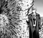 1girl absurdres bangs blood blood_on_clothes blood_on_face blood_on_hands blood_on_wall blood_on_weapon blood_splatter braid braided_ponytail chainsaw_man closed_mouth coat collared_shirt commentary_request cracked_wall expressionless feet_out_of_frame formal greyscale highres holding holding_sword holding_weapon injury long_coat long_hair looking_to_the_side makima_(chainsaw_man) monochrome mumu_(0x3777) necktie office_lady pants shirt solo stab standing suit sword wall weapon