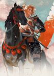 1boy armor blue_sky commentary_request dust_cloud falling_petals feet_out_of_frame flag highres horse horseback_riding japanese_armor katana male_focus mcmeao orange_hair original outdoors parted_lips petals riding samurai shoulder_armor sky solo sword thick_eyebrows topknot vambraces weapon