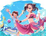 2girls ^_^ ^o^ arms_up asymmetrical_bangs bangs barefoot beach bikini blue_bikini blue_sky brown_hair closed_eyes clouds commentary_request day dynamax_ball facing_viewer feet floating_hair flower flower_bracelet from_behind gloria_(pokemon) green_eyes grimmsnarl hair_flower hair_ornament hair_ribbon hibiscus highres inteleon jewelry kurobe_sclock marnie_(pokemon) multiple_girls official_alternate_costume open_hands open_mouth outstretched_arms pendant pink_bikini pokemon pokemon_(game) pokemon_masters_ex ribbon sarong scrunchie short_hair skirt_hold sky smile splashing standing standing_on_one_leg sunlight swimsuit teeth twintails two_side_up upper_teeth wading water wrist_scrunchie