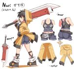 1girl ass black_hair breasts cougar_(cougar1404) denim holding holding_sword holding_weapon hood hooded_jacket jacket jeans looking_at_viewer looking_back nari_(cougar1404) navel original overalls pants short_hair simple_background solo standing sword weapon white_background yellow_eyes