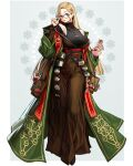 1girl blonde_hair book brown_skirt coat earrings flask full_body glasses glint green_coat green_eyes hair_ornament hand_up highres jewelry long_hair long_skirt long_sleeves looking_at_viewer necklace off_shoulder original parted_lips print_coat rinotuna skirt smile solo standing star_(symbol) star_earrings star_hair_ornament tree_of_life