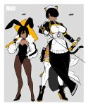 2girls absurdres age_comparison age_progression animal_ears apron bandaid black_hair border breasts cat_ears cat_girl cat_tail character_name choker collarbone commentary_request dark-skinned_female dark_skin desperado_(yotaro) earrings full_body gloves grey_background hair_over_one_eye high_heels highres holding holding_sheath holding_sign holding_sword holding_weapon jacket jewelry katana large_breasts leotard long_sleeves looking_at_viewer maid maid_apron maid_headdress mao_(yotaro) multicolored multicolored_background multicolored_hair multiple_girls muscular muscular_female pantyhose playboy_bunny rabbit_ears sheath short_hair sigh sign slit_pupils standing strapless strapless_leotard sword tail thigh-highs two-tone_hair weapon white_border yellow_eyes yotaro