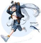 1girl arms_up bangs belt blue_headwear blue_pants brown_gloves fish flying_fish full_body gloves goggles goggles_on_head grey_hair highres jacket long_hair long_sleeves midriff nike nike_air_force_1 open_clothes open_jacket open_mouth orange_eyes original pants personification print_shirt rinotuna shirt shoes smile sneakers solo standing suspenders twintails very_long_hair white_footwear white_shirt