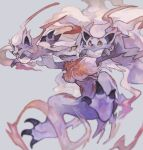 blurry claws closed_eyes commentary_request evolutionary_line eyelashes fang grey_background highres hisuian_zoroark hisuian_zorua mok_73 open_mouth pokemon pokemon_(creature) tongue tongue_out