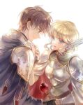 1boy 1girl armor blonde_hair blue_eyes breastplate brown_eyes brown_hair closed_mouth couple eye_contact fire_emblem fire_emblem:_genealogy_of_the_holy_war from_side hetero kuzumosu leif_(fire_emblem) looking_at_another nanna_(fire_emblem) profile shiny shiny_hair short_hair shoulder_armor simple_background smile white_background