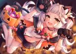 1girl absurdres animal_ear_fluff animal_ears animal_hands arata_(xin) bandaged_arm bandaged_leg bandages bangs blunt_bangs blush breasts candy cat_ears cat_girl cat_tail choker collarbone fang food gloves halloween halloween_bucket halloween_costume hat highres hololive jack-o'-lantern long_hair looking_at_viewer miniskirt murasaki_shion navel open_mouth paw_gloves paw_pose shirt silver_hair skirt small_breasts smile solo tail torn_clothes torn_shirt torn_skirt twintails virtual_youtuber yellow_eyes