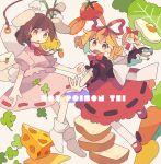 2girls :o animal_ears ankle_socks arm_at_side back_bow bad_id bad_tumblr_id bangs beige_background black_shirt blonde_hair blush_stickers bobby_socks bow bowtie bread_slice brown_eyes brown_hair carrot carrot_necklace cheese clover curled_fingers d: daizu_(melon-lemon) dot_nose egg egg_yolk english_text envelope eyebrows_visible_through_hair eyes_visible_through_hair fairy_wings floating_hair floppy_ears flower food foreshortening four-leaf_clover fried_egg frills from_side full_body furrowed_brow gradient_eyes hair_between_eyes hair_bow hair_ribbon hand_up high_collar highres inaba_tewi jewelry leg_up legs_up letter lettuce lily_of_the_valley looking_to_the_side mary_janes medicine_melancholy medium_skirt multicolored multicolored_eyes multiple_girls necklace no_nose no_shoes one_eye_closed open_hand open_mouth orange_eyes outstretched_arm outstretched_hand pantyhose parted_lips pendant pink_shirt pink_skirt pointing puffy_short_sleeves puffy_sleeves rabbit_ears rabbit_girl rabbit_tail red_bow red_footwear red_neckwear red_ribbon red_skirt ribbon ribbon-trimmed_skirt ribbon_trim shirt shoes short_hair short_sleeves skirt socks su-san sunny_side_up_egg swept_bangs swiss_cheese tail tareme tomato touhou wavy_hair white_bow white_flower white_legwear wings yellow_eyes