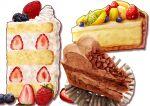 absurdres banana_slice blueberry cake cake_slice cheesecake chocolate_cake commentary_request food food_focus fruit highres kaneko_ryou lime_(fruit) no_humans orange_(fruit) orange_slice original shadow still_life strawberry strawberry_shortcake whipped_cream white_background