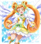 1girl :d bangs blunt_bangs boots bow breasts brown_hair choker clover_earrings collarbone cure_rosetta dokidoki!_precure dress floating_hair green_choker hanzou highres layered_dress long_hair looking_at_viewer precure shiny shiny_hair short_dress short_sleeves small_breasts smile solo twintails very_long_hair white_dress white_footwear white_wings wings wrist_cuffs yellow_bow yellow_dress yellow_eyes