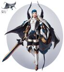 1boy abs absurdres black_pants blue_hair cape covered_abs full_body gloves highres holding holding_sword holding_weapon male_focus manta_ray muscular muscular_male open_mouth original pants personification rinotuna shadow short_hair smile solo sparkle standing sword weapon white_gloves