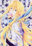 1boy argyle argyle_background blonde_hair blue_eyes candy cat_cross creus_sun food knight lollipop long_hair ribbon sun_knight the_legend_of_sun_knight