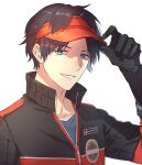 1boy berry_o_t black_gloves black_hair black_jacket gloves hand_up jacket male_focus mole mole_under_eye multicolored multicolored_clothes multicolored_jacket oki_kouji parted_lips red_headwear red_jacket short_hair simple_background smile solo two-tone_jacket upper_body visor_cap white_background world_trigger