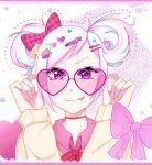 1girl absurdres bow candy_hair_ornament decora decorations food-themed_hair_ornament gyaru hair_bow hair_ornament heart heart-shaped_eyewear highres kogal looking_at_viewer md5_mismatch nail_art nail_polish original pink_background pink_eyes spooky-dollie sunglasses sweater tongue tongue_out white_hair