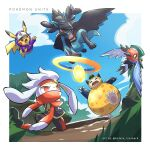 baseball_cap bird claws clouds commentary copyright_name day english_commentary fangs fletchling from_below goggles hat hatted_pokemon highres hood hood_up hooded_jacket jacket kelvin-trainerk lucario no_humans open_mouth orange_eyes outdoors pikachu pokemon pokemon_(creature) pokemon_(game) pokemon_unite purple_jacket raboot sky snorlax tongue twitter_username zipper_pull_tab