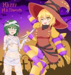 2girls alternate_costume antennae bangs bat black_shirt blonde_hair breasts brown_dress buttons commentary_request cross dress eyebrows_visible_through_hair feet_out_of_frame green_eyes green_hair hair_between_eyes halloween happy_halloween highres kurodani_yamame large_breasts looking_at_viewer multiple_girls mummy_costume one_eye_closed open_mouth purple_legwear purple_sleeves seo_haruto shirt short_hair small_breasts smile striped striped_legwear striped_sleeves tombstone touhou turtleneck wriggle_nightbug yellow_eyes yellow_legwear yellow_sleeves