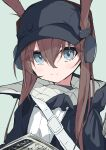 1girl absurdres amiya_(arknights) amiya_(newsgirl)_(arknights) arknights baseball_cap black_jacket blue_eyes blue_headwear brown_hair commentary_request diamond-shaped_pupils diamond_(shape) ears_through_headwear green_background hair_between_eyes hat headphones highres implied_extra_ears jacket looking_at_viewer newspaper official_alternate_costume open_clothes open_jacket saizukiconoha shirt sidelocks simple_background smile solo split_mouth symbol-shaped_pupils upper_body white_shirt