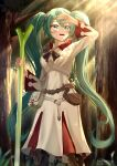 1girl :d absurdres aqua_eyes artist_name belt blurry blurry_foreground branch commission cosplay curly_hair eyebrows_visible_through_hair final_fantasy forest grass green_hair hair_between_eyes hand_up hatsune_miku highres holding holding_leaf leaf leather_bag leek long_hair long_sleeves nature official_art open_mouth pouch rayleigh_scale smile solo standing teeth tied_hair tree tree_shade twintails upper_teeth very_long_hair vocaloid white_mage white_mage_(cosplay) white_robe wide-eyed