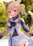 1girl animal_ears bangs black_shirt blonde_hair blurry blurry_background braid cat_ears cat_girl cat_tail closed_mouth day depth_of_field dress eyebrows_visible_through_hair final_fantasy final_fantasy_xiv garter_straps kou_hiyoyo long_sleeves looking_at_viewer miqo'te outdoors ponytail shirt short_shorts shorts sidelocks single_sleeve smile solo tail tree violet_eyes white_dress white_shorts